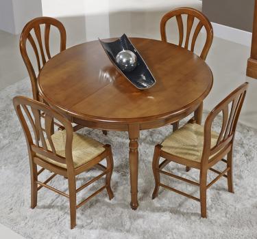 Table ronde 4 pieds tournés Audrey réalisée en merisier massif de style Louis Philippe DIAM.120 + 3 ALLONGES DE 40 CM