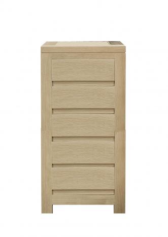 Chiffonnier 5 tiroirs Collection Nature réalisée en Chêne Massif Finition Chêne Brossé