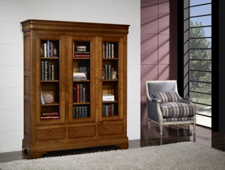 Bibliothèque 3 portes 3 tiroirs Thomas  en Merisier Massif de style Louis Philippe