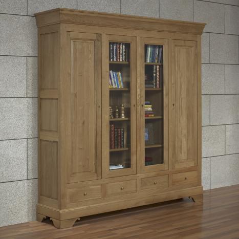 Bibliothèque 4 portes Corentin réalisée en Chêne Massif de style Louis Philippe