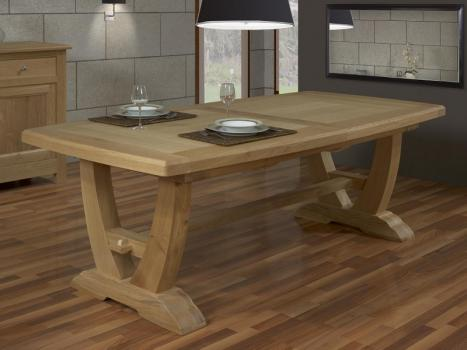 Table rectangulaire Monastère Gautier 220x110 + 2 allonges de 45 cm  en Chêne de style Campagnard avec les PIEDS DE LA TABLE OLIVIER