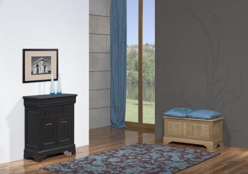 Petit buffet 2 portes 4 tiroirs Thimoty réalisé en Chêne Massif de style Louis Philippe PATINE NOIR USE ET VIEILLI