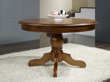 Table ronde pieds central Sabine réalisée en merisier massif de style Louis Philippe DIAMETRE 110 + 2 allonges de 40 cm