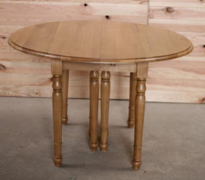Table ronde à volets DIAMETRE 120 réalisée en chêne massif de style Louis Philippe 7 allonges de 40 cm