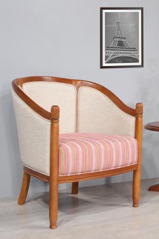 Fauteuil Cabriolet en hêtre massif de style Louis Philippe