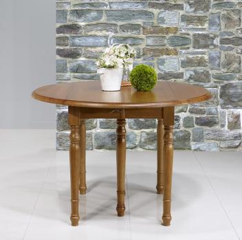 Table ronde à volets  en Chêne Massif de style Louis Philippe Diamètre 110 - 3 allonges de 40 cm