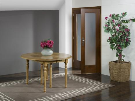 Table ronde à volets réalisée en Chêne Massif de style Louis Philippe Diamètre 120 - 4 allonges de 40 cm