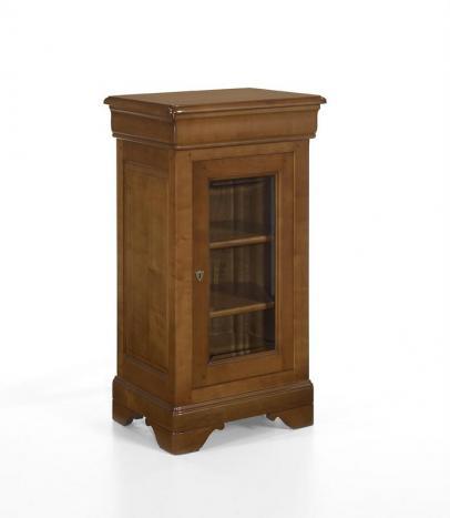 Petite vitrine 1 porte 1 tiroir réalisée en Merisier Massif de style Louis Philippe