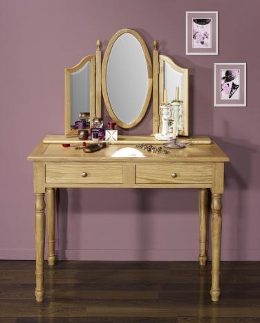 Table de toilette ou Coiffeuse Valérie réalisée en chêne de style Louis Philippe