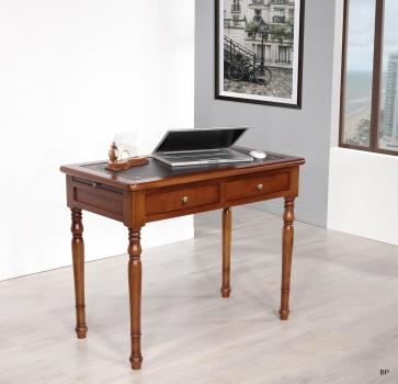 Table à écrire 2 tiroirs réalisée en Merisier de style Louis Philippe Surface d'écriture noir