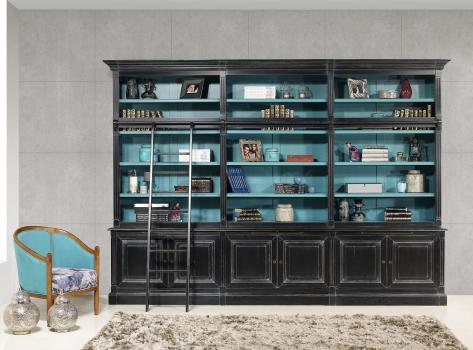 Bibliothèque 2 corps 6 portes Alix  en Chêne Massif de style Directoire AVEC ECHELLE