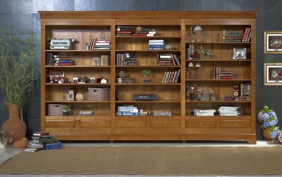 Bibliothèque ouverte florence, réalisée en merisier massif de style louis philippe