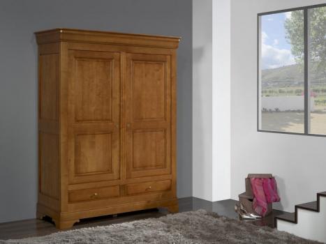 Armoire 2 portes 2 tiroirs Odile réalisée en Merisier Massif de style Louis Philippe