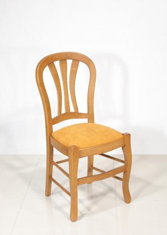 Chaise Gabriel réalisée en chêne massif de style Louis Philippe Assise colorie Moutarde