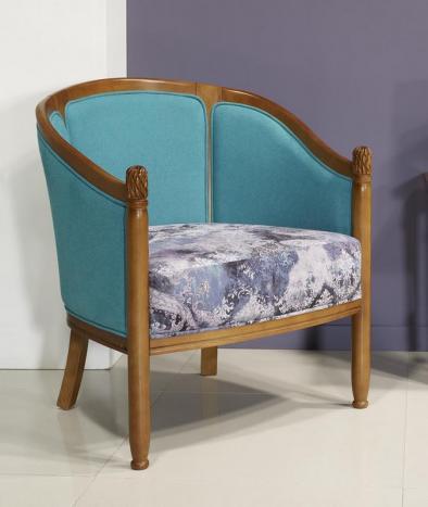 Fauteuil Cabriolet Caroline réalisé en Merisier Massif de style Louis Philippe Tissu Aldecco Essential FR Tangerine