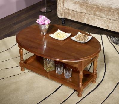 Table Basse Ovale à volets Zoé   en merisier massif de style Louis Philippe