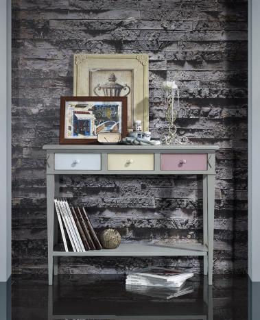 Console marilou réalisée en chêne de style directoire finition chêne brossé gris et tons pastels