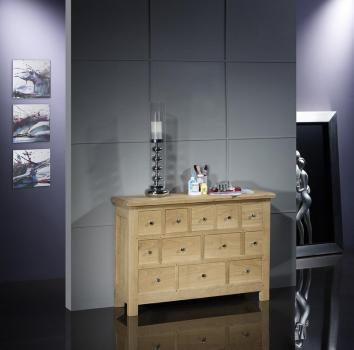 Commode 12 tiroirs Cédric, réalisée en Chêne Massif de stytle Campagnard