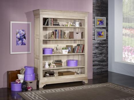 Bibliothèque thiago réalisée en chêne massif de style louis philippe 4 étagères