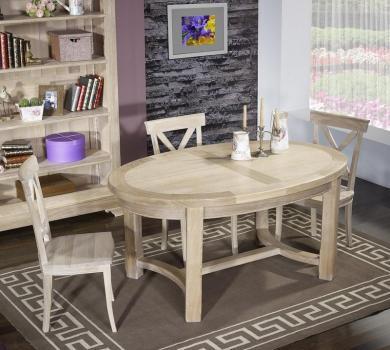 Table de ferme ovale tom réalisée en chêne massif de style campagnard 170*110 finition brossé blanchi