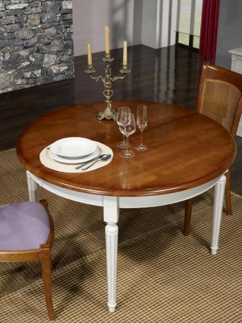 Table ronde 4 pieds Diane, réalisée en Merisier Massif de style Louis XVI Diamètre 120 Ceinture et pieds patiné Gris Perle