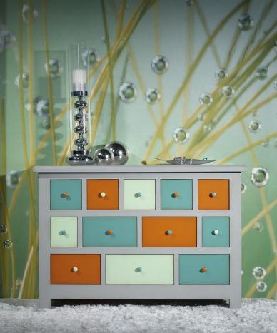Commode 12 tiroirs Maxime réalisée en Chêne Massif de style Campagnard Coloré