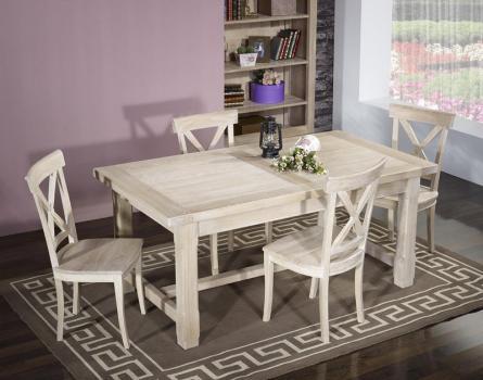 Table de ferme rectangulaire Axel réalisée en Chêne massif 200x100 + 2 allonges de 45 cm Finition Chêne Brossé