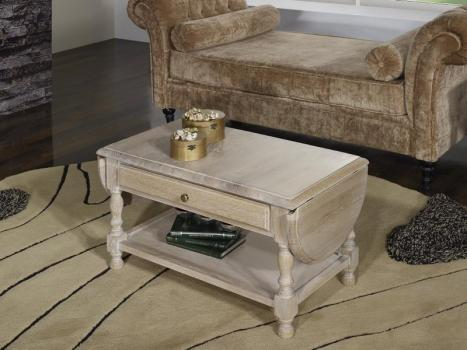 Table basse à volets Jean réalisée en Chêne massif de style Louis Philippe Finition Chêne Brossé Blanchi