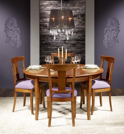 Table ronde Johanna, réalisée en Merisier Massif de style Louis Philippe Diamètre 140 cm, 5 allonges de 40 cm