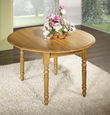Table ronde à volets réalisée en Chêne Massif de style Louis Philippe DIAMETRE 120