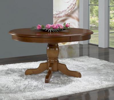 Table Ovale 135x110  pied central Delphine  en Merisier Massif de style Louis Philippe avec 3 allonges de 40 cm
