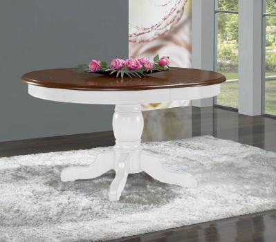 Table Ovale 135x110  pied central Delphine réalisée en Merisier Massif de style Louis Philippe avec 2 allonges de 40 cm Pieds + ceinture : Lin Plateau + allonges Noyer clair