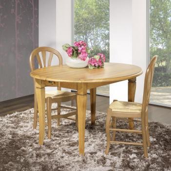 Table ovale à volets 135x110  en Chêne Massif de style Louis Philippe 2 allonges de 40 cm
