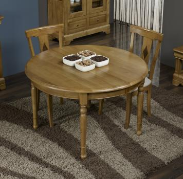 Table ronde Richard réalisée en Chêne Massif de style Louis Philippe DIAMETRE 110 - 2 ALLONGES DE 40 cm