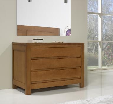 Commode 3 tiroirs réalisée en Chêne Massif de style Contemporain Finition Chêne moyen