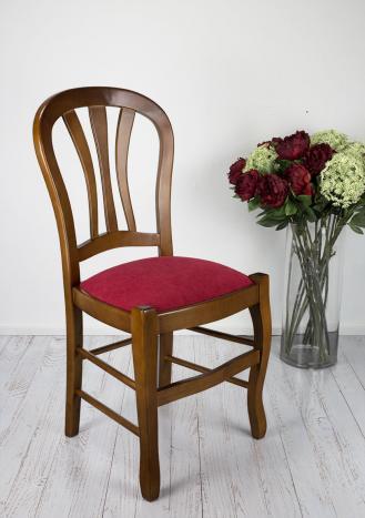 Chaise Camille réalisée en Hêtre Massif assise tissu de style Louis Philippe