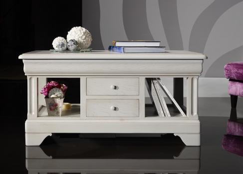 Table Basse Emmanuel réalisée en Chêne de style Louis Philippe  Finition Chêne Brossé Gris Perle