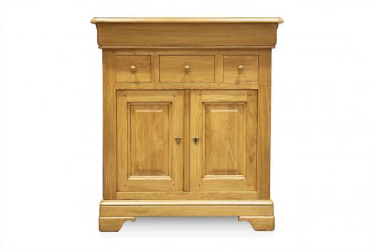 Petit Buffet 2 portes 4 tiroirs Thimoty en chêne massif de style Louis Philippe Finition chêne doré SEULEMENT 1 DISPONIBLE