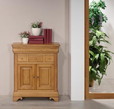 Petit Buffet Ethan 2 portes 4 tiroirs en chêne massif de style Louis Philippe Finition Chêne Doré Patine Antiquaire (léger vieillissement du bois)