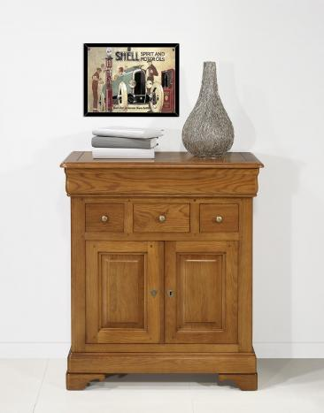 Petit Buffet Thimoty 2 portes 4 tiroirs en chêne massif de style Louis Philippe