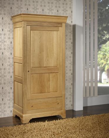 Bonnetière 1 porte 1 tiroir Sébastien, réalisée en Chêne massif de style Louis Philippe Finition traditionnelle