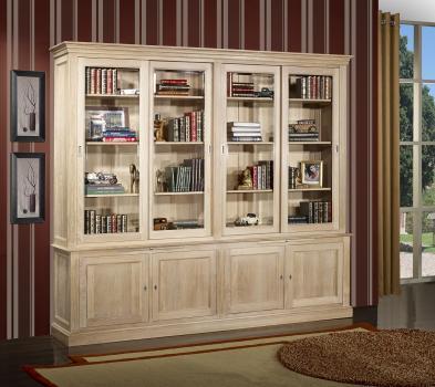 Bibliothèque 2 corps 4 portes coulissantes Damien, réalisée en Chêne Massif de style Directoire Finition chêne brossé Blanchi
