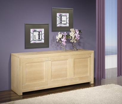 Bahut 3 portes loann réalisé en chêne massif de ligne contemporaine finition chêne brossé blanchi hauteur 85 cm seulement 1 disponible
