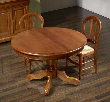 Table ronde pied central Sophie réalisée en Merisier Massif de style Louis Philippe Diamètre 120 4 allonges de 40 cm
