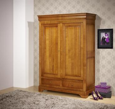 Petite armoire 2 portes 2 tiroirs Inès en merisier massif de style Louis Philippe