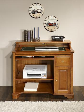 Petit Bureau informatique Elise réalisé en Merisier de style Louis Philippe Surface d'écriture Vert
