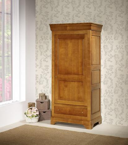 Bonnetière 1 porte 1 tiroir Sophie, réalisée en Merisier massif de style Louis Philippe