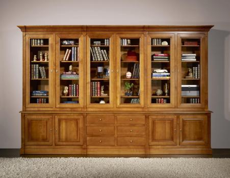 Bibliothèque 2 corps 6 portes Sabine réalisée en Merisier Massif de style Directoire