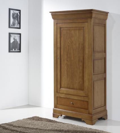 Bonnetière 1 porte 1 tiroir Louis réalisée en chêne massif de style Louis Philippe Finition Chêne Moyen