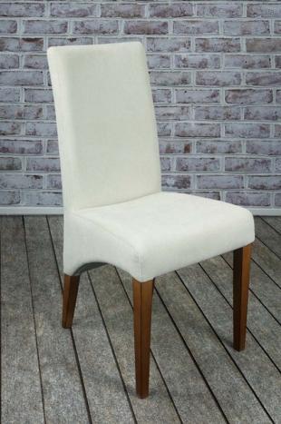 Chaise Loann en Hêtre massif, assise et dos capitonnés de couleur Ecru